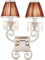 Oksana Nickel Twin Wall Light Crystal Drops Chocolate Shades