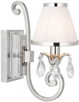 Oksana Nickel Single Wall Light Crystal Drops White Shade