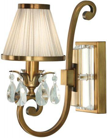 Oksana Brass Single Wall Light Crystal Drops Beige Shade