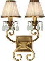 Oksana Brass Twin Wall Light Crystal Drops Beige Shades