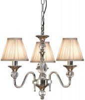 Polina Nickel 3 Light Classic Chandelier With Beige Shades
