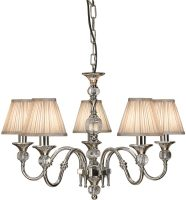 Polina Nickel 5 Light Classic Chandelier With Beige Shades