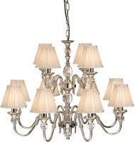 Polina Nickel 12 Light Classic Chandelier With Beige Shades