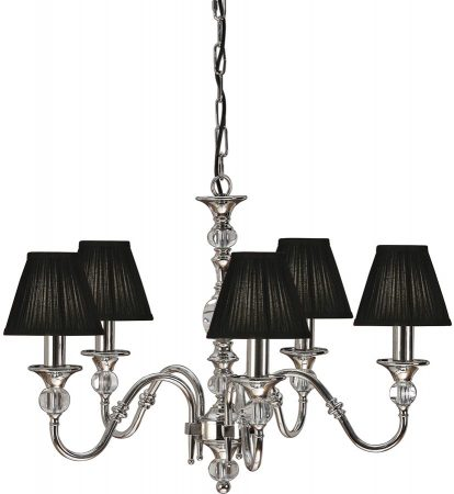 Polina Nickel 5 Light Classic Chandelier With Black Shades
