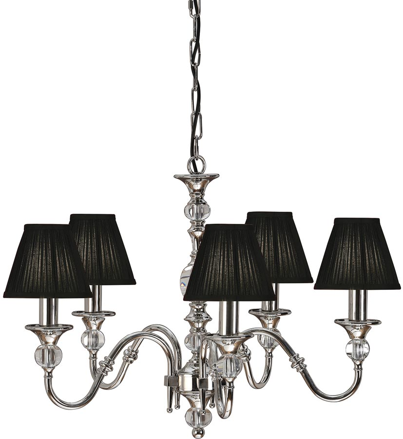 Polina nickel 5 light classic chandelier with black shades 63582 polina nickel 5 light classic chandelier with black shades aloadofball Images