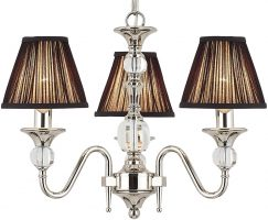 Polina Nickel 3 Light Classic Chandelier With Black Shades