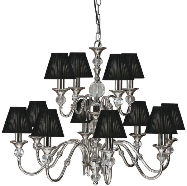 Polina Nickel 12 Light Classic Chandelier With Black Shades