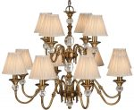 Polina Brass 12 Light Classic Chandelier With Beige Shades