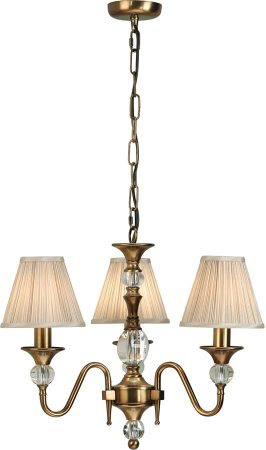 Polina Brass 3 Light Classic Chandelier With Beige Shades