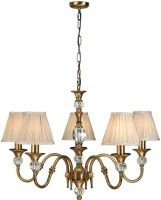 Polina Brass 5 Light Classic Chandelier With Beige Shades