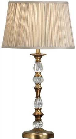 Polina Brass Medium Crystal Table Lamp With Beige Shade