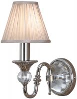 Polina Polished Nickel Single Wall Light Beige Shade