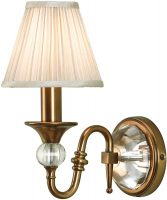 Polina Antique Brass Single Wall Light With Beige Shade