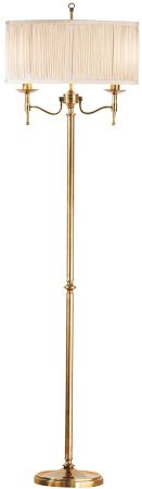 Stanford Antique Brass Candelabra Floor Lamp With Beige Shade
