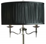 Stanford Nickel 2 Light Candelabra Floor Lamp With Black Shade