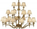 Stanford Antique Brass 21 Light Large Chandelier With Beige Shades