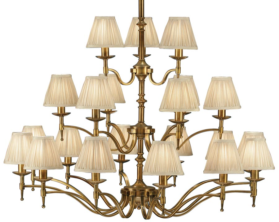Stanford Antique Brass 21 Light Large Chandelier With ...