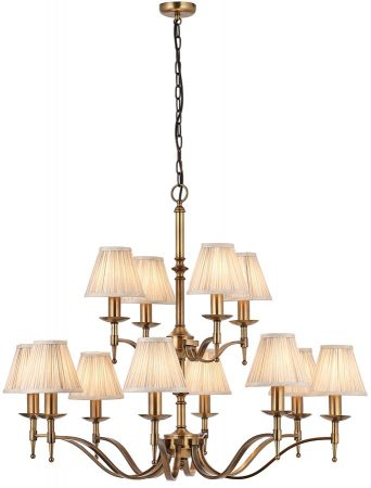 Stanford Antique Brass 12 Light Large Chandelier With Beige Shades