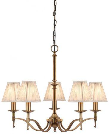 Stanford Antique Brass 5 Light Chandelier With Beige Shades