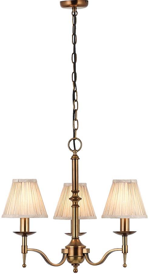 Stanford Antique Brass 3 Light Chandelier With Beige Shades