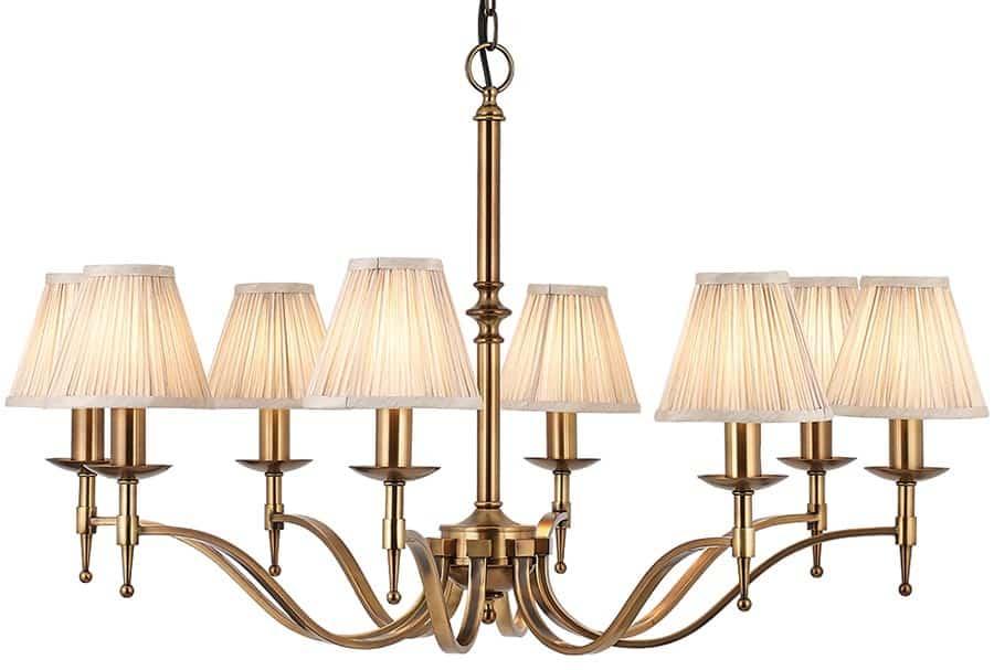 Stanford Antique Brass 8 Light Chandelier With Beige ...