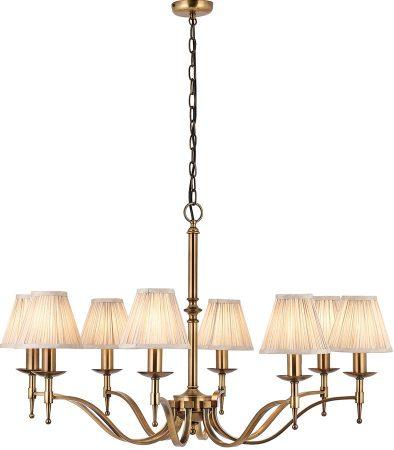 Stanford Antique Brass 8 Light Chandelier With Beige Shades
