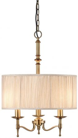 Stanford Antique Brass 3 Light Pendant With Beige Shade