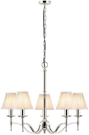 Stanford Polished Nickel 5 Light Chandelier With Beige Shades