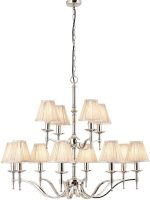 Stanford Nickel 12 Light Large Chandelier With Beige Shades