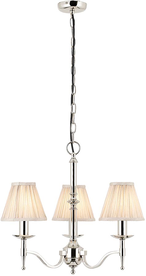 Stanford Polished Nickel 3 Light Chandelier With Beige Shades