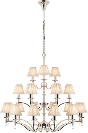 Stanford Nickel 21 Light Large Chandelier With Beige Shades