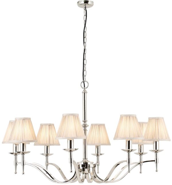 Stanford Polished Nickel 8 Light Chandelier With Beige Shades