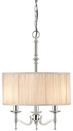 Stanford Nickel 3 Light Candelabra Pendant With Beige Shade