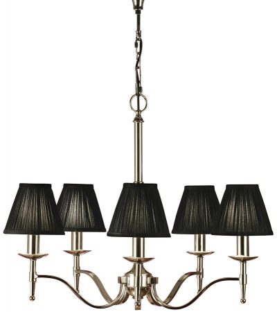 Stanford Polished Nickel 5 Light Chandelier With Black Shades