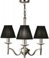 Stanford Polished Nickel 3 Light Chandelier With Black Shades