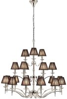 Stanford Nickel 21 Light Large Chandelier With Black Shades