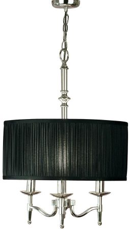 Stanford Nickel 3 Light Candelabra Pendant With Black Shade
