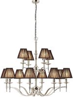 Stanford Nickel 12 Light Large Chandelier With Black Shades