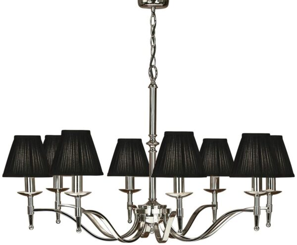 Stanford Polished Nickel 8 Light Chandelier With Black Shades