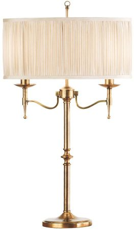 Stanford Antique Brass Candelabra Table Lamp With Beige Shade