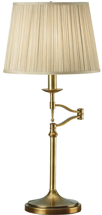Stanford antique brass swing arm table lamp with beige shade 63649 stanford antique brass swing arm table lamp with beige shade aloadofball Images
