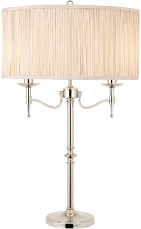Stanford Nickel 2 Light Candelabra Table Lamp With Beige Shade
