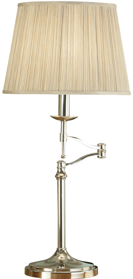 Stanford Nickel Swing Arm Table Lamp With Beige Shade