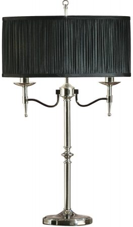 Stanford Nickel 2 Light Candelabra Table Lamp With Black Shade