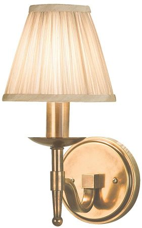 Stanford Antique Brass Single Wall Light With Beige Shade