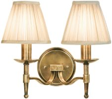 Stanford Antique Brass 2 Lamp Wall Light With Beige Shades