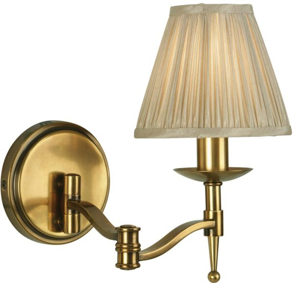 Stanford Antique Brass Swing Arm Wall Light With Beige Shade