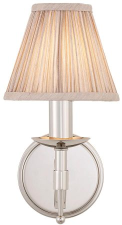 Stanford Polished Nickel Single Wall Light With Beige Shade
