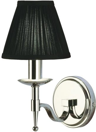 Stanford Polished Nickel Single Wall Light With Black Shade