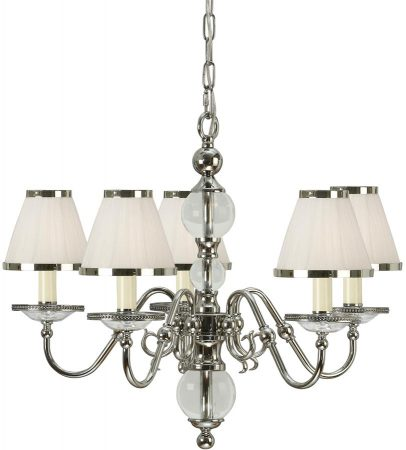 Tilburg Nickel 5 Light Chandelier With White Faux Silk Shades